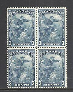 CANADA SCOTT 208 MH/MNH BLOCK/4 - 1934 3c BLUE CARTIER ISSUE   CV $27.00