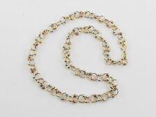 "14k Yellow White And Rose Gold Ball Rolo Style Chain Necklace 17"" 19 .1 grams"