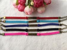 5pcs mix Infinity leather Bracelet Faux Suede Friendship Eternal Ilove you