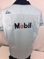 Vtg 60's CHAIN STITCH Blue Rockabilly MOBIL Oil GAS Corp Bowling League Shirt M