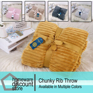 Chunky Rib Throws Soft Warm Chic Blanket Sofa Bed Double 150 x 200 cm 5 Colours