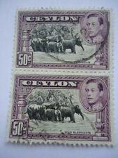 Ceylon KGVI 1946 SG394e P12 50c Used Vertical Pair Wild Elephants
