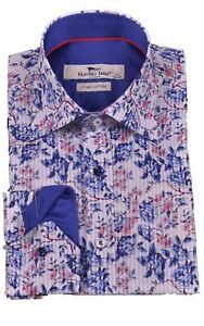 Mens Claudio Lugli Couture Floral Print Shirt CP6665 Blue