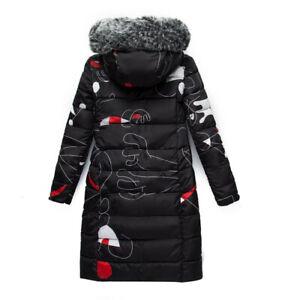 Winter Women's Down Cotton Jacket Outwear Fur Hooded Reversible Long Parka Coat