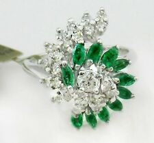 Ring With Diamonds/ Emerald 14k White Gold