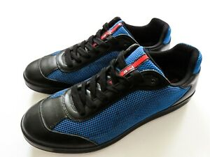 PRADA Two Tone Leather Mesh Fashion Sneakers Shoes Size 10 US 43 Euro 9 UK