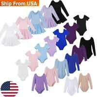 US Kids Gymnastics Ballet Dance Leotards Girls Cotton Dancewear Sports Dancewear