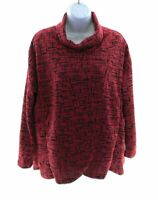 Mirror Image Womens Black and Red Abstract Long Sleeve Top Small MSRP $39.90