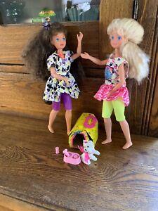 "Vintage Mattel SKIPPER &COURTNEY PetPals Dolls;1987;twist/turn;w/accessories;10"""