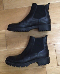 GEOX RESPIRA BLACK LEATHER ANKLE BOOTS SIZE 3 (36) Hardly Worn.    Bargain