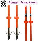 "32"" Bowfishing Arrows Fish Hunting Archery Fiberglass Shaft Safe Slide Tips 3X"