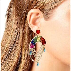 New Betsey Johnson Rainbow heart chandelier earrings red pink gold