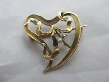 Pearl Yellow Gold Brooch/Pin Art Nouveau Fine Jewellery