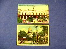 2 Linen CUBA POSTCARDS Havana Fraternity Tree,Capitol City Hall & Armas Plaza  E