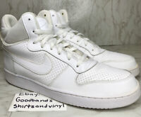 NIKE Court Borough Mid Size 12 Triple White GREAT Condition SHIP FAST 838938-111