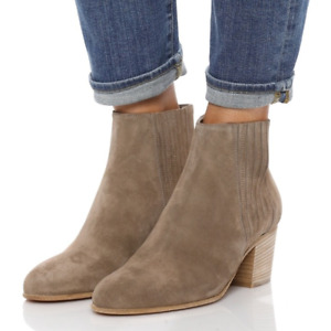 VINCE £325 Haider Taupe Suede Ankle Boots with Block Heel UK 4 EU 37 US 7 BN
