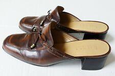 Ralph Lauren Women's Mules 6.5 B Block Heel Brown Leather W/ Tassels Cordovan