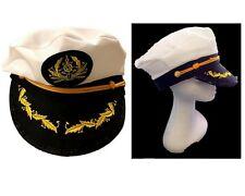 Adult Party Costume Yacht Captain Hat Skipper Sailor Boat Ship Captain Cap White