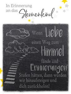 STERNENKIND TROST-SCHIEFERPLATTE 9x9 cm - Trostspender Mutmacher Grabschmuck