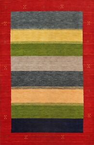 Contemporary Striped Gabbeh Abstract Oriental Area Rug Wool Hand-knotted 6x8 New