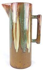 Dryden Ozark Frontier Pottery Drip Glaze Green Brown Tan Tall Pitcher