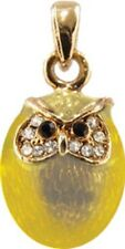 Faberge Egg Pendant / Charm Owl with crystals 2 cm yellow #5601-14