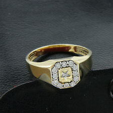 Simulated Diamond 14k Yellow Gold Finish 925 Silver Men's Ring Father's Day Gift