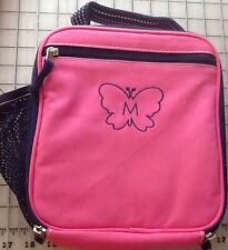 Pottery Barn Kids Fairfax lunch bag box NWOT pink with Butterfly Monogramed M