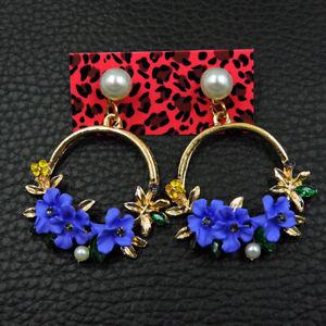Women's Purple Crystal Flower Betsey Johnson Drop Earrings