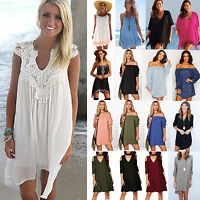 Plus Size Women Summer Beach Party Mini Dress Casual Blouse Lace Boho Sundress