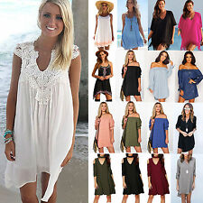 Plus Size Women Summer Beach Party Mini Dress Casual Top Blouse Boho Sundress