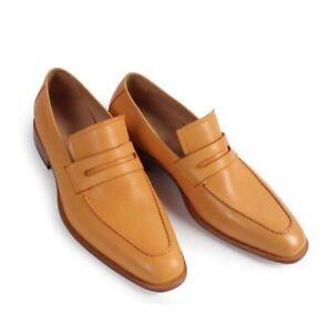 Handmade Men Formal Shoes, Tan Color Leather Moccasins Shoes Loafer