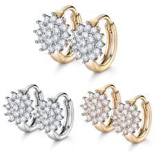 Daisy Flower Paved Diamond Sapphire 18K Silver / Gold Filled Women Hoop Earrings