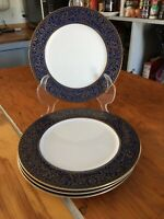 "Set Of 4 Vintage SANGO Aristocrat      7 5/8"" PLATES W/ Cobalt Blue & Gold.  EUC"
