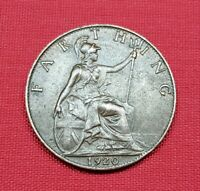 Great Britain Coin , Farthing 1920 , George V , XF+ / AU , KM# 808
