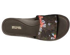 NIB Size 5 Michael Kors MK Pool Slide Sandals MK Logo Brown Flowers