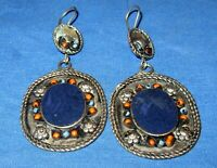 Earrings Teardrop Oval Gemstone Lapis or Turquoise Afghan Kuchi Alpaca Silver 2""