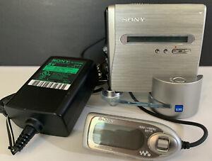 Sony minidisc portable HI-MD walkman & recorder w/charger +docking station mznh1