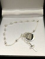 """925 Sterling Silver Chain Bracelet with Cross Charm Engraved CHRISTMAS GIFT 8"""""""