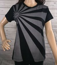 RVCA T-Shirt Women's Large Black Gray Japanese Rising Sun Flag Design Casual Top