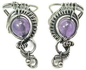 Pair of Amethyst and Sterling Silver Woven Wire Ear Cuffs; Non-pierced Earrings