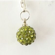 SPARKLY SHAMBALLA OLIVE GREEN  CRYSTAL 10mm BALL CLIP ON CHARM FOR BRACELET -S/P