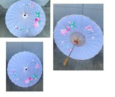 Hand Painted Off White Silk Vi 00004000 ntage Chinese Bamboo Parasol Umbrella Flowers