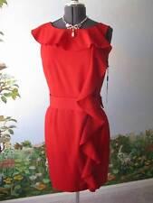 Calvin Klein Sheath Dress  Sleeveless Cocktail Ruffle  Red Dress Size 12 New