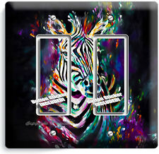 COLORFUL ZEBRA DOUBLE GFI LIGHT SWITCH WALL PLATE COVER ART STUDIO BEDROOM DECOR