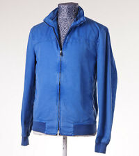 NWT $3950 KITON NAPOLI Bright Blue Washed Cotton Bomber Jacket 48/M Windbreaker