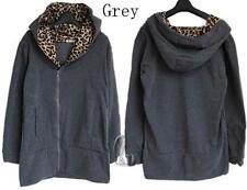 AU SELLER Leopard Hoodie Jacket Jumper Sweater Long Tops Zip Fleece Coat T161