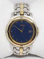 Mens Citizen Two Tone Blue Dail Date Indic Analog Quartz Watch 5510-KO9079OK A9