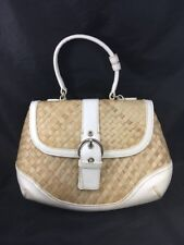 New York & Company Bag White Leather and Rattan Bag Clutch Purse