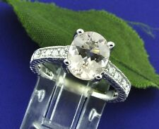 2.58 ct 14k Solid White Gold Ladies Oval Morganite Natural Diamond Ring 4.7 gram